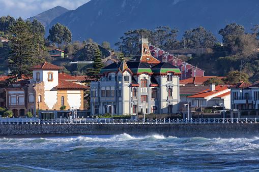 Santa Marina Beach Of Ribadesella In Spain Stock Photo - Download Image Now