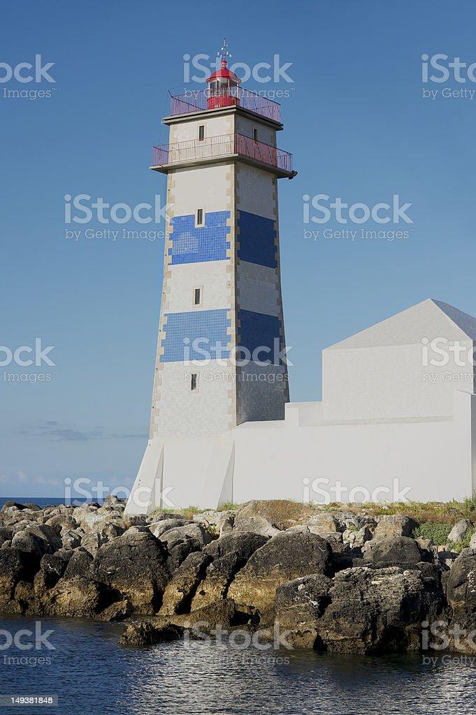 Santa Marta Lighthouse in Cascais on the coast of Portugal royalty-free stock photo