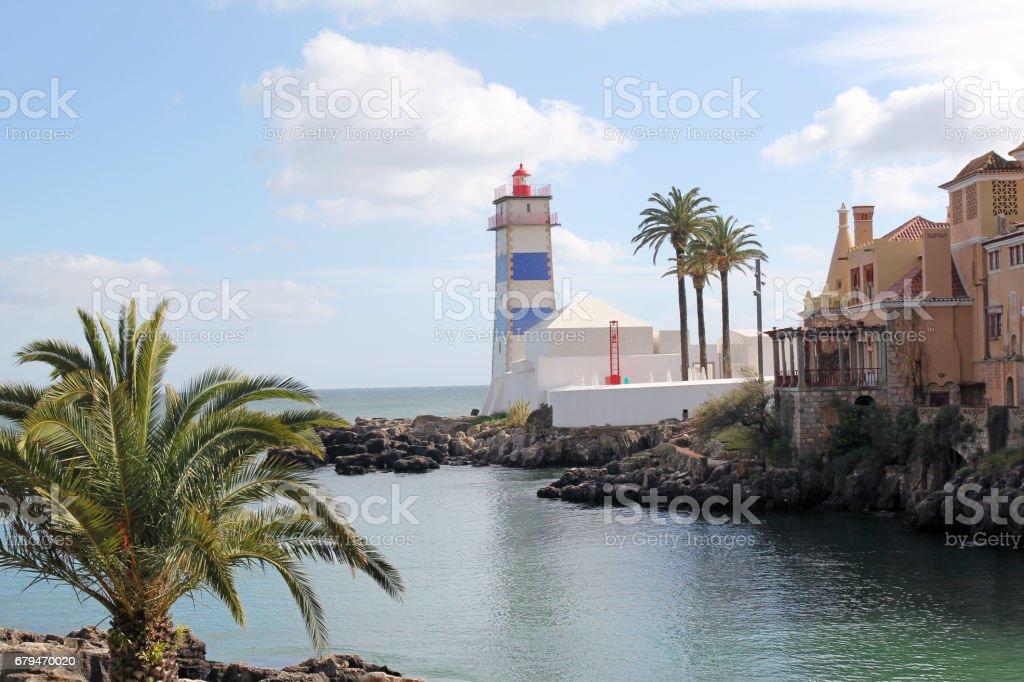 Santa Marta Lighthouse in Cascais, Portugal stock photo
