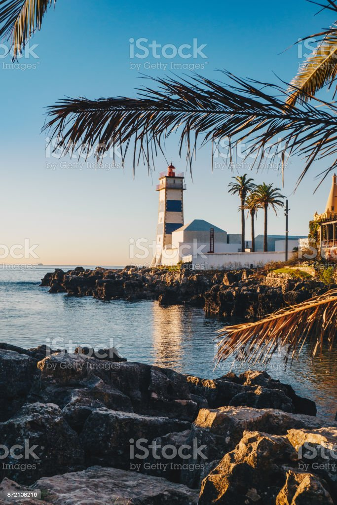 Santa Marta Lighthouse in the Portugal city of Cascais stock photo
