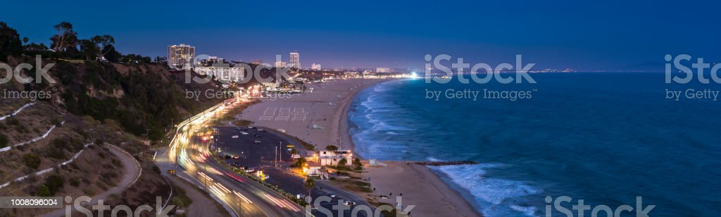 Santa Monica and the Pacific Coast Highway After Sunset - Aerial Panorama stock photo