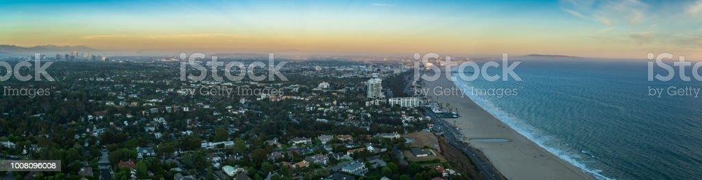 Santa Monica at Dusk - Aerial Panorama stock photo