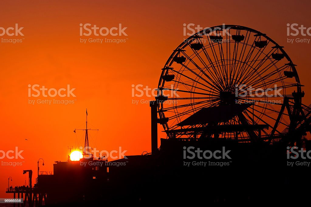 Santa Monica at sunset royalty-free stock photo