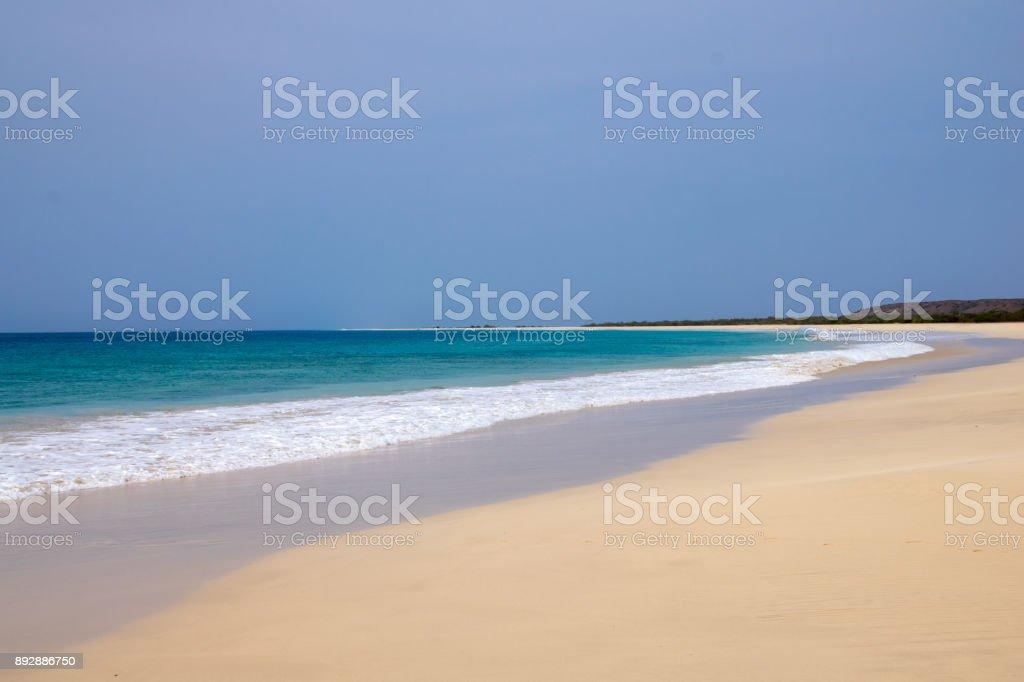 Santa Monica Beach, 18km white sand along the south coast of Boa Vista Island, Cape Verde stock photo