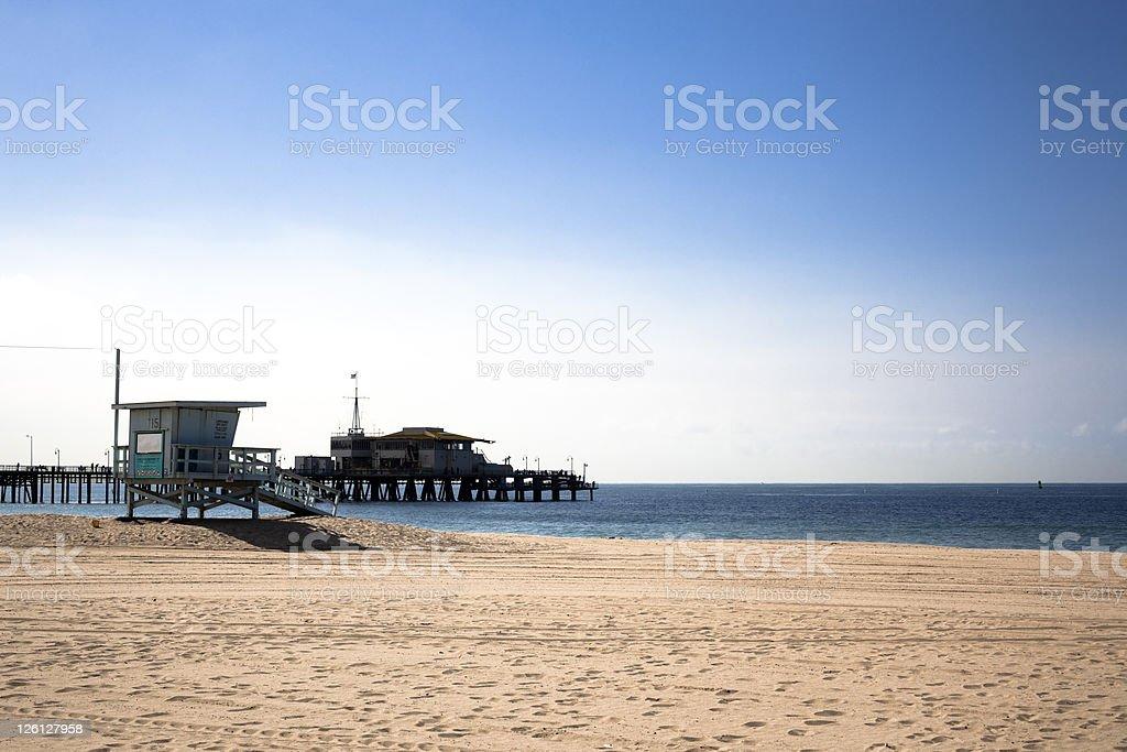 Santa Monica Beach Against Bright Blue Sky stock photo