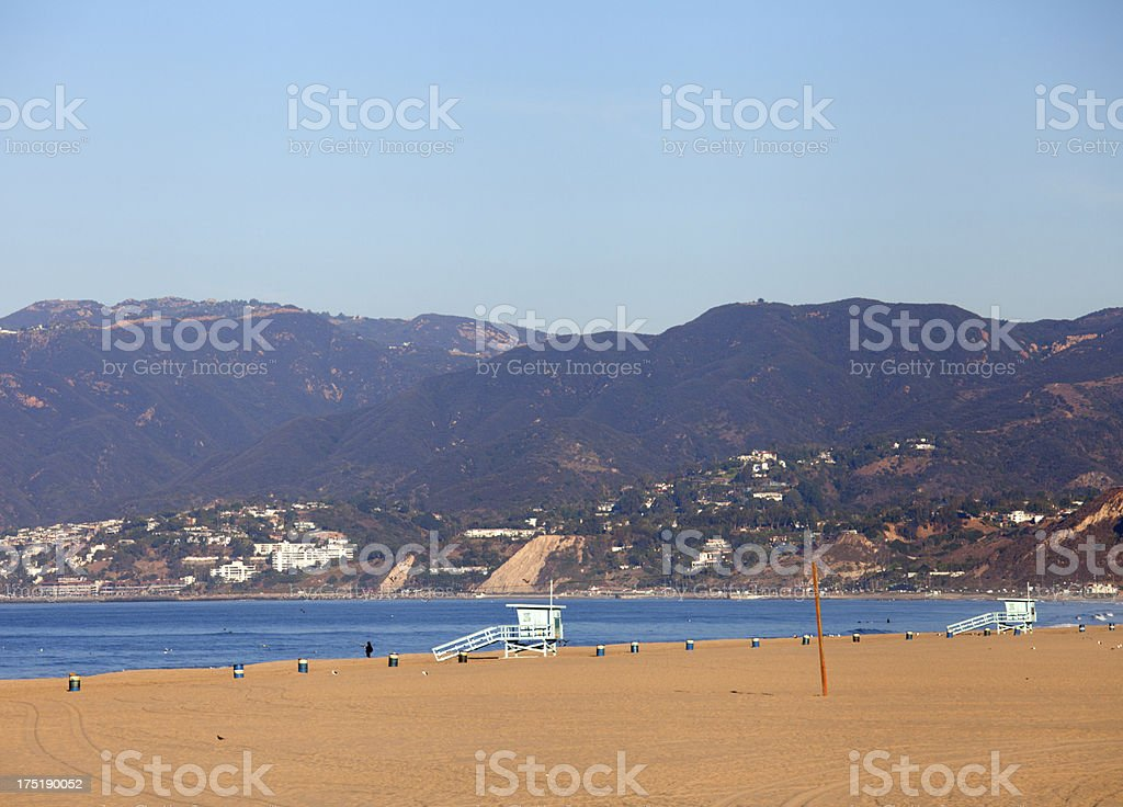 Santa Monica beach and mountains royalty-free stock photo