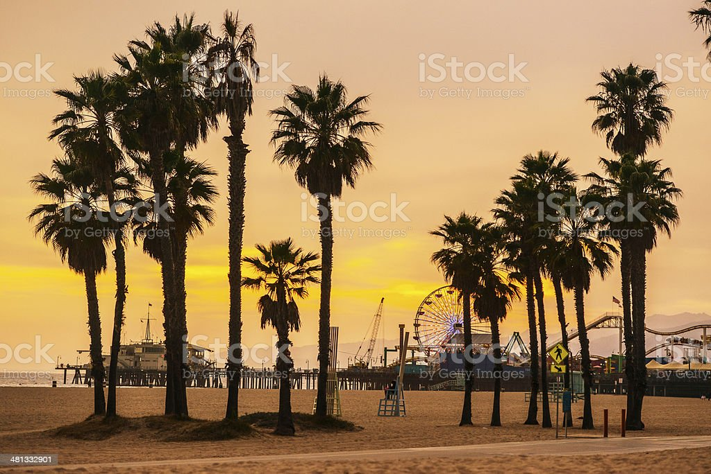 Santa Monica Beach and Pier on Sunset stock photo