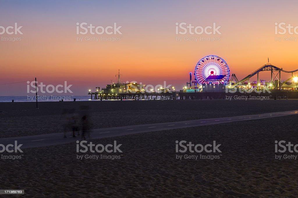 Santa Monica Beach at Sunset royalty-free stock photo