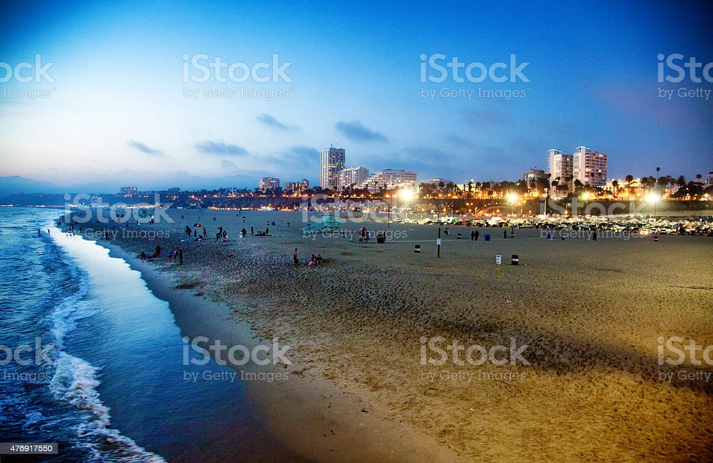 Santa Monica beach at twilight stock photo