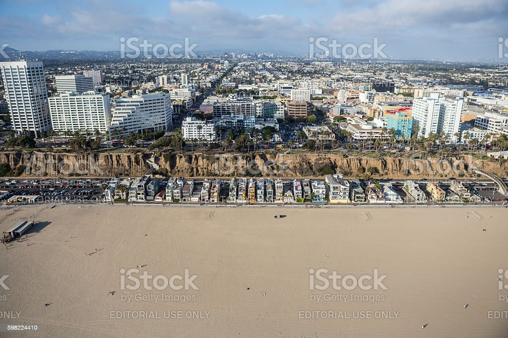 Santa Monica Beach, Homes and Business District foto royalty-free