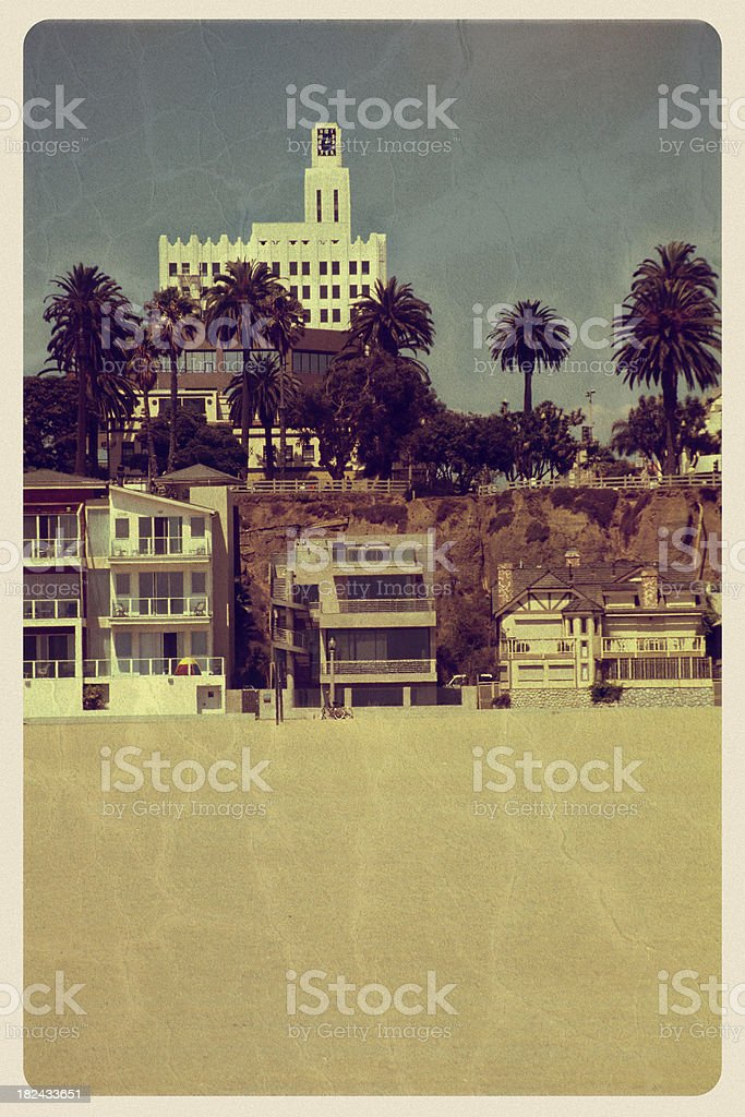 Santa Monica Beachfront - Vintage Postcard stock photo