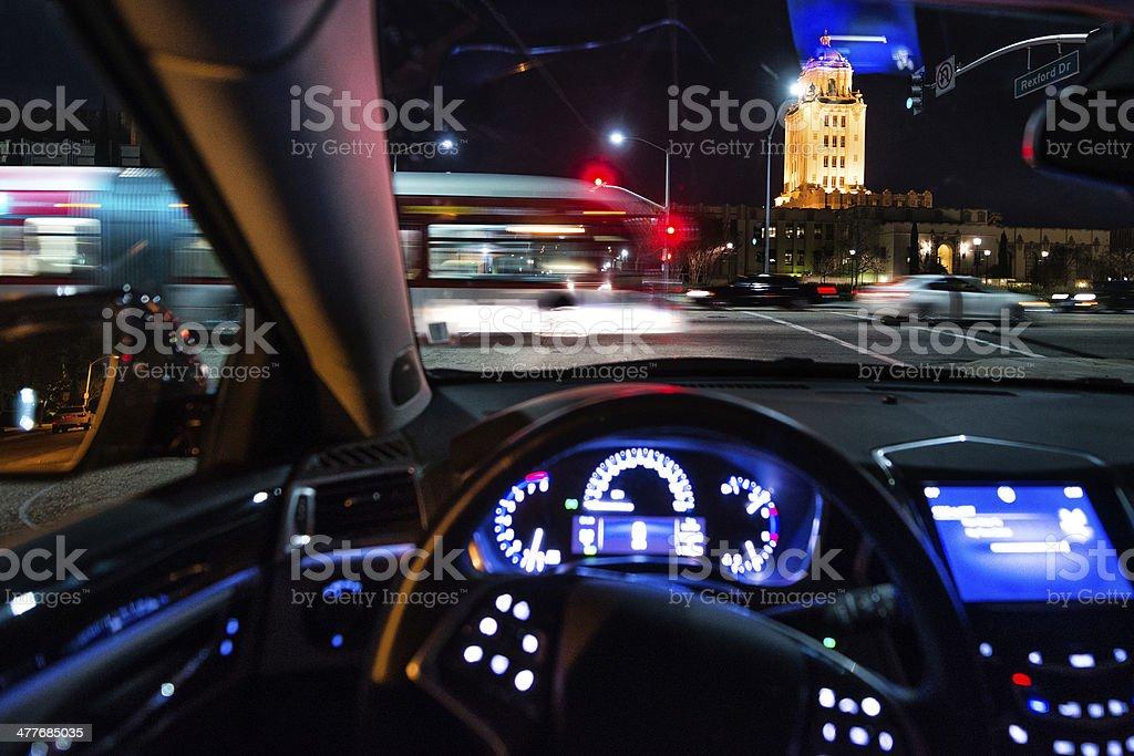 Santa Monica Blvd at night stock photo