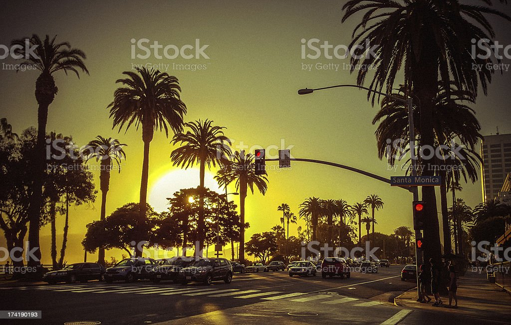 Santa Monica Boulevard and Ocean Avenue at Sunset stock photo