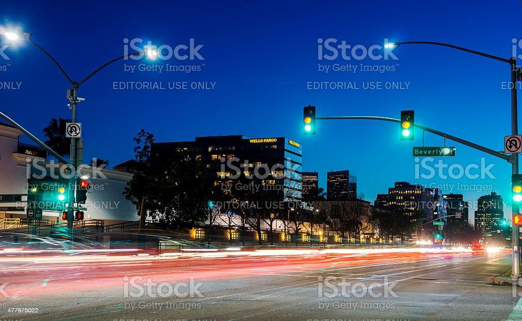 Santa Monica Boulevard In Beverly Hills, California stock photo