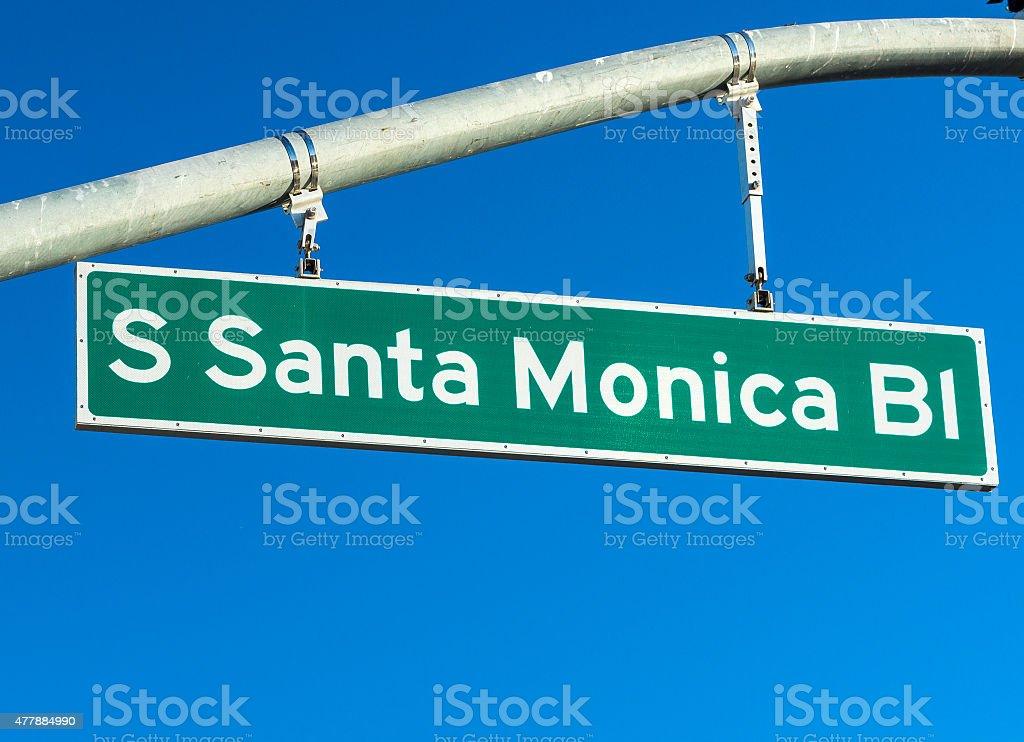 Santa Monica Boulevard Sign In Los Angeles County, California stock photo