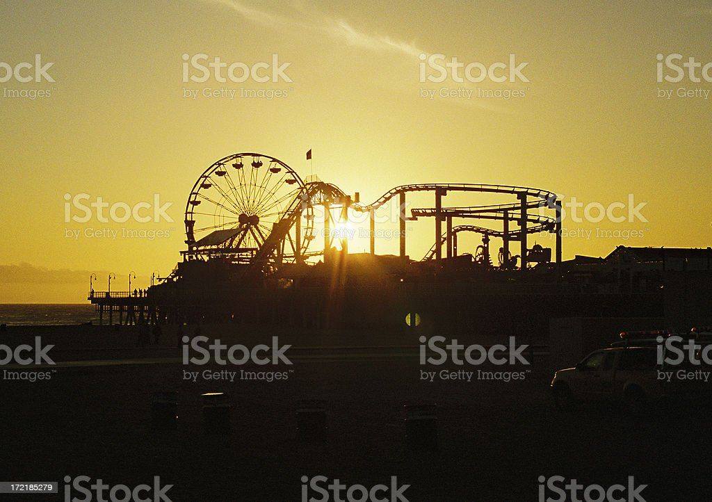 Santa Monica California Amusement park sunset royalty-free stock photo