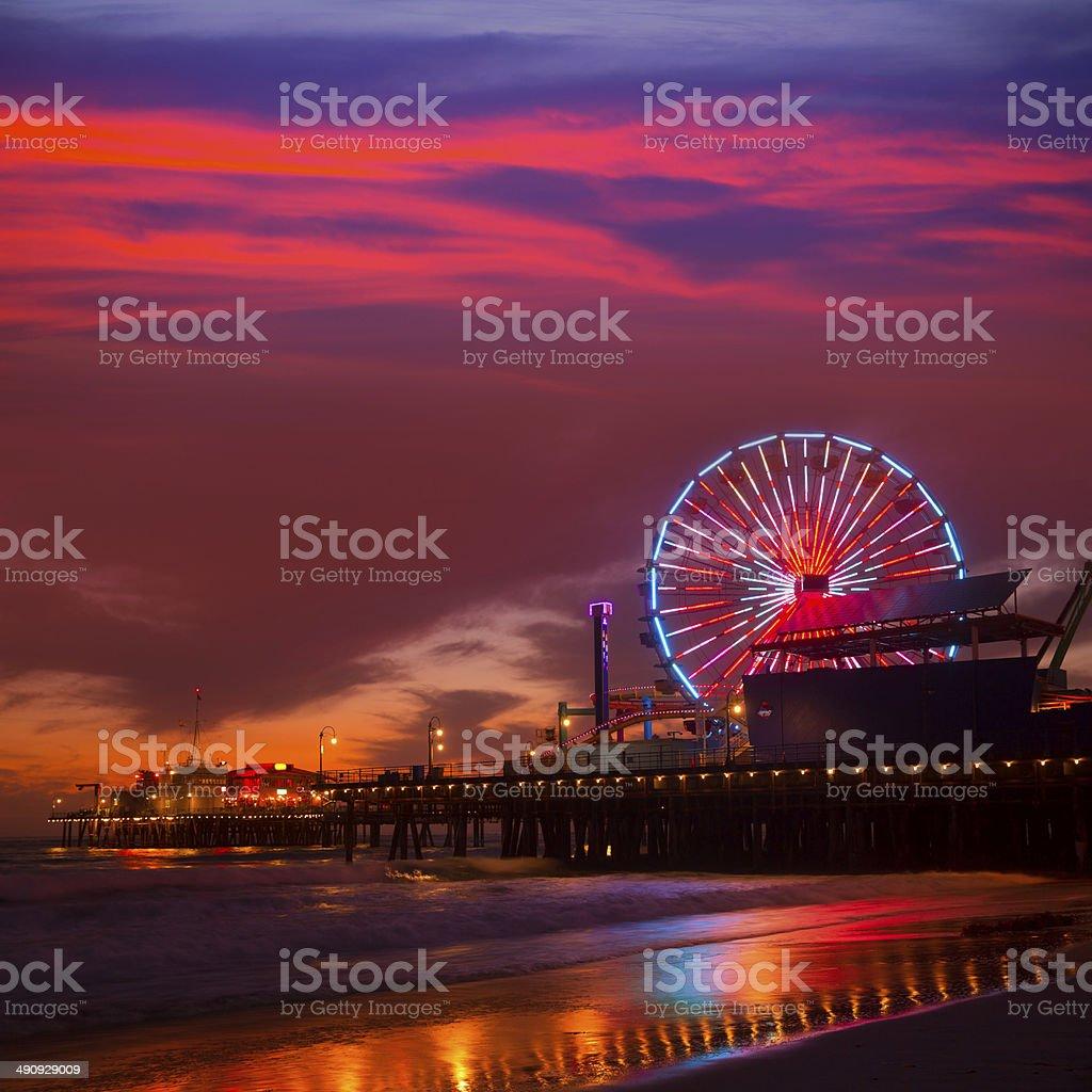 Santa Monica California sunset on Pier Ferrys wheel stock photo