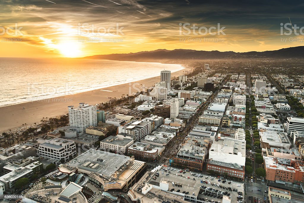 santa monica district from the helicopter stock photo