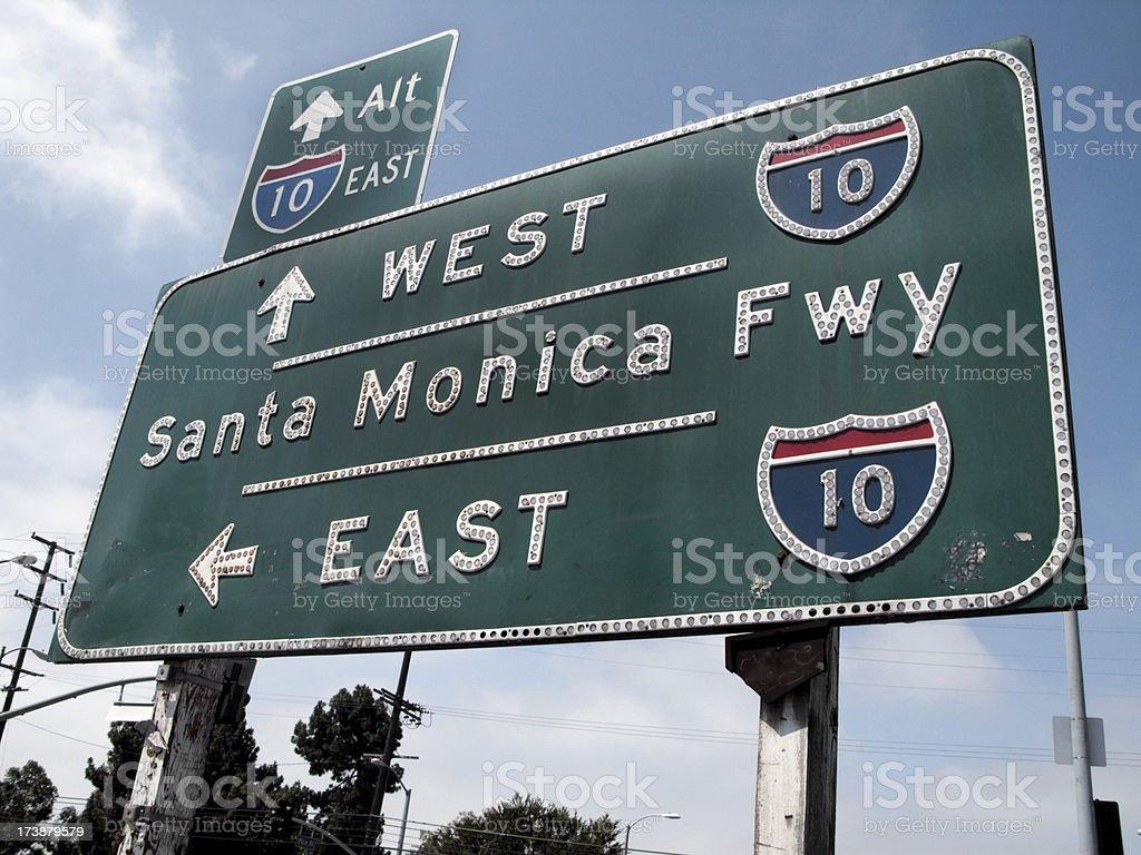 Santa Monica Freeway Sign royalty-free stock photo