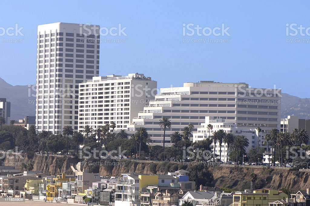 Santa Monica High Rise Buildings and Coastal Homes on Beach royalty-free stock photo