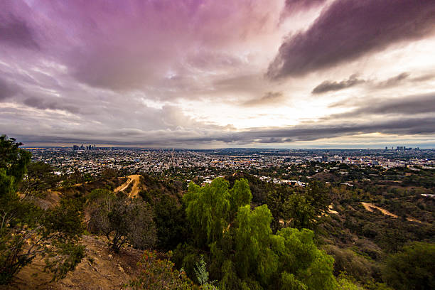 Santa Monica Hills to LA stock photo