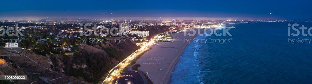 Santa Monica Lit Up at Night - Drone Panorama stock photo