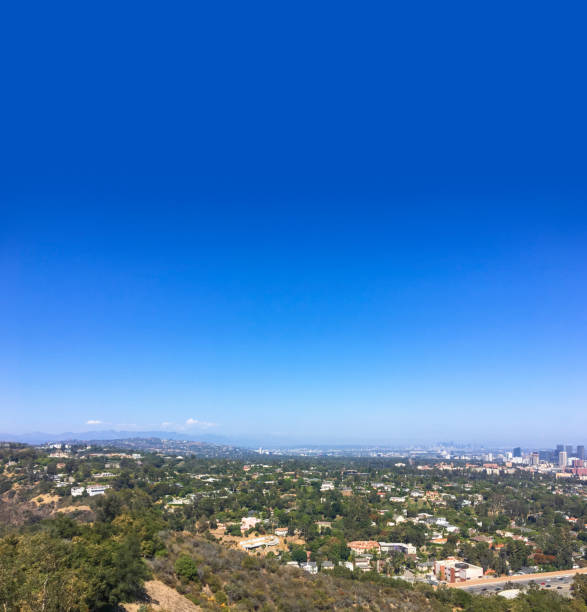 Santa Monica Mountain hilltop overlooking West Los Angeles Hills overlooking 405 freeway and Westwood downtown. westwood neighborhood los angeles stock pictures, royalty-free photos & images