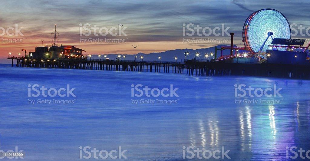 Santa Monica Night royalty-free stock photo
