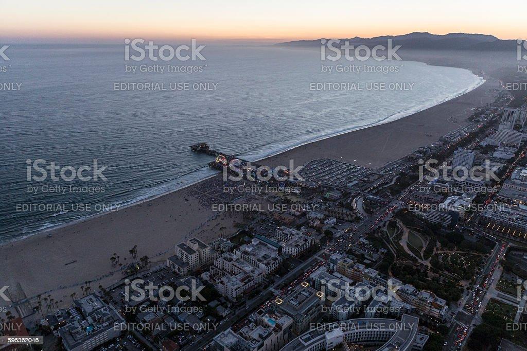 Santa Monica Pacific Ocean Night Aerial royalty-free stock photo