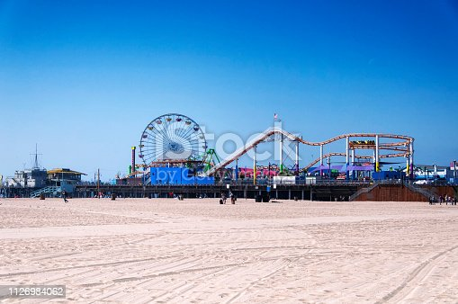 The famous Pacific Park Amusement Park on Santa Monica Pier in sunny california with no recognizable people.