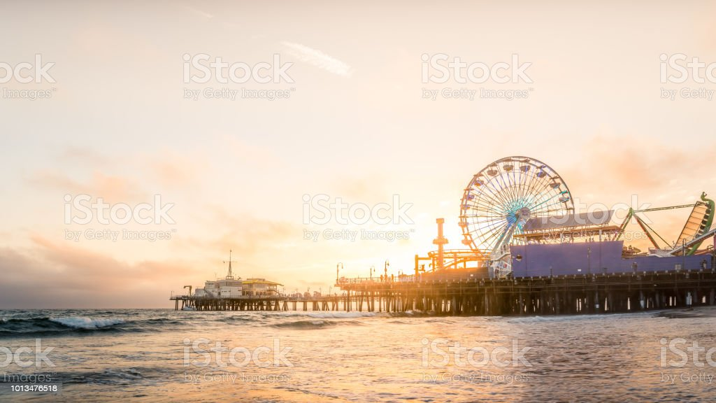 Santa Monica Santa Monica in Los Angeles at dusk. Adventure Stock Photo
