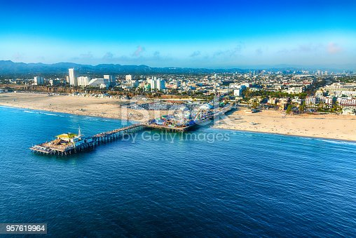 The pier in the city of Santa Monica, California along coastal Los Angeles County about 15 miles west of downtown LA, shot from an altitude of about 1500 feet.
