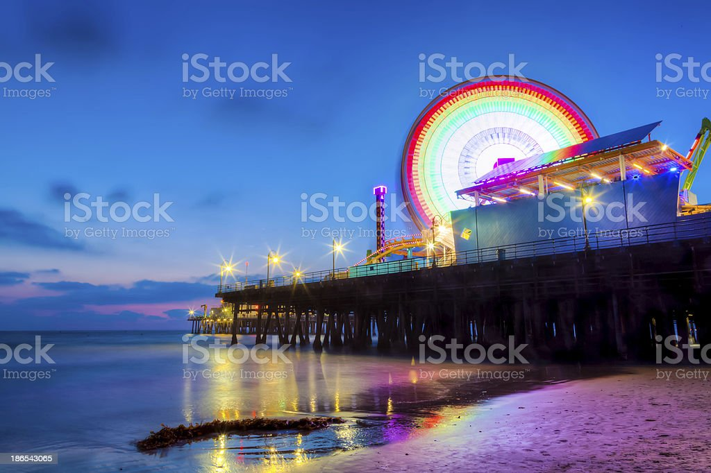 Santa Monica Pier after sunset royalty-free stock photo