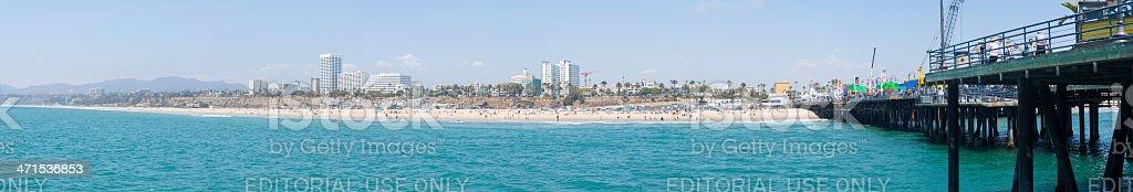 Santa Monica Pier and Beach Panorama royalty-free stock photo