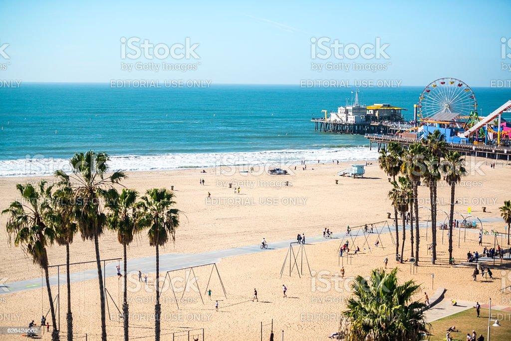 Santa Monica Pier and Muscle Beach, CA, USA stock photo
