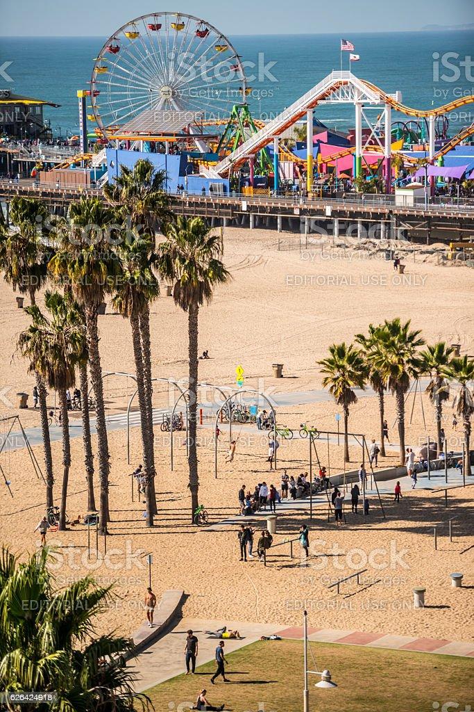 santa monica pier and muscle beach ca usa アメリカ合衆国のストック