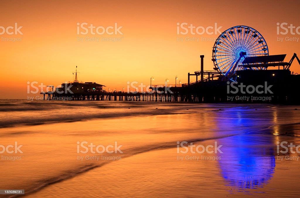 Santa Monica Pier at dusk stock photo