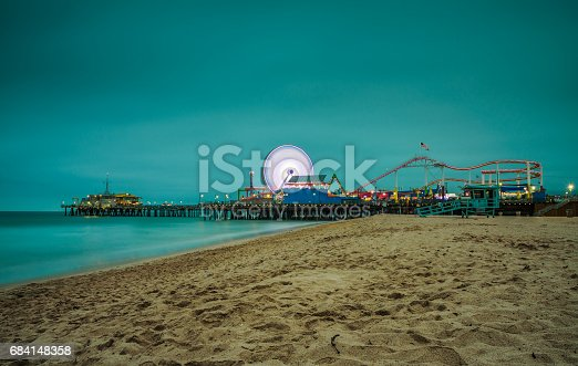 Santa Monica Pier at night,  Los Angeles, California. Long exposure.