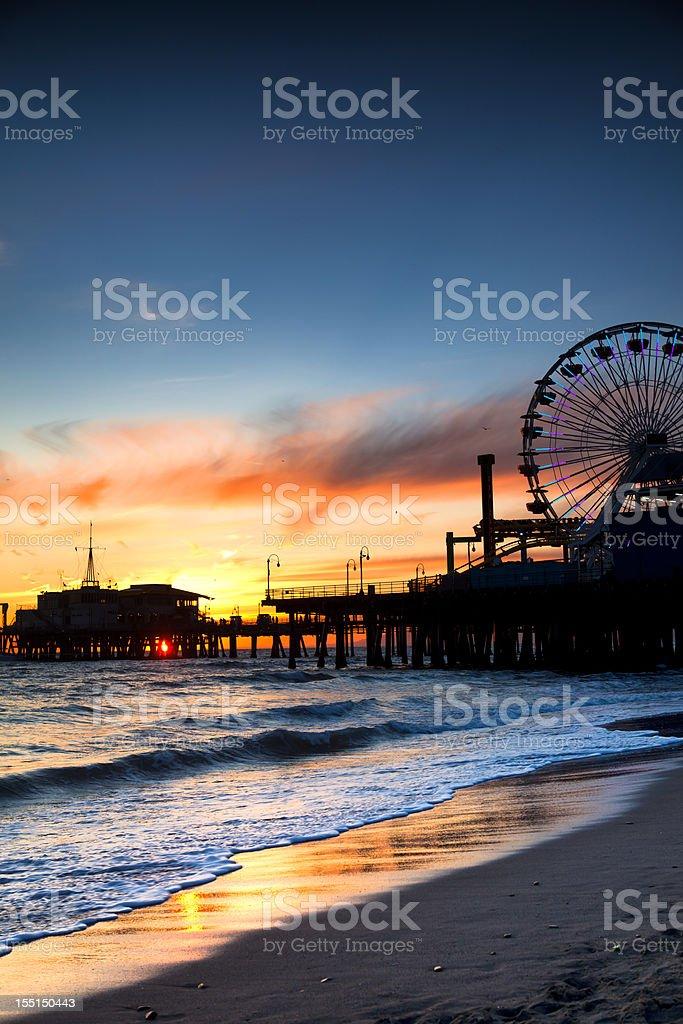 Santa Monica Pier at sunset. stock photo