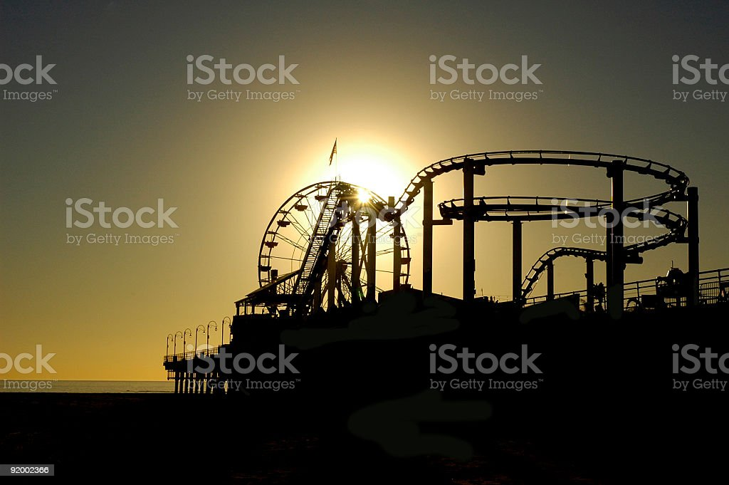 Santa Monica Pier at Sunset royalty-free stock photo