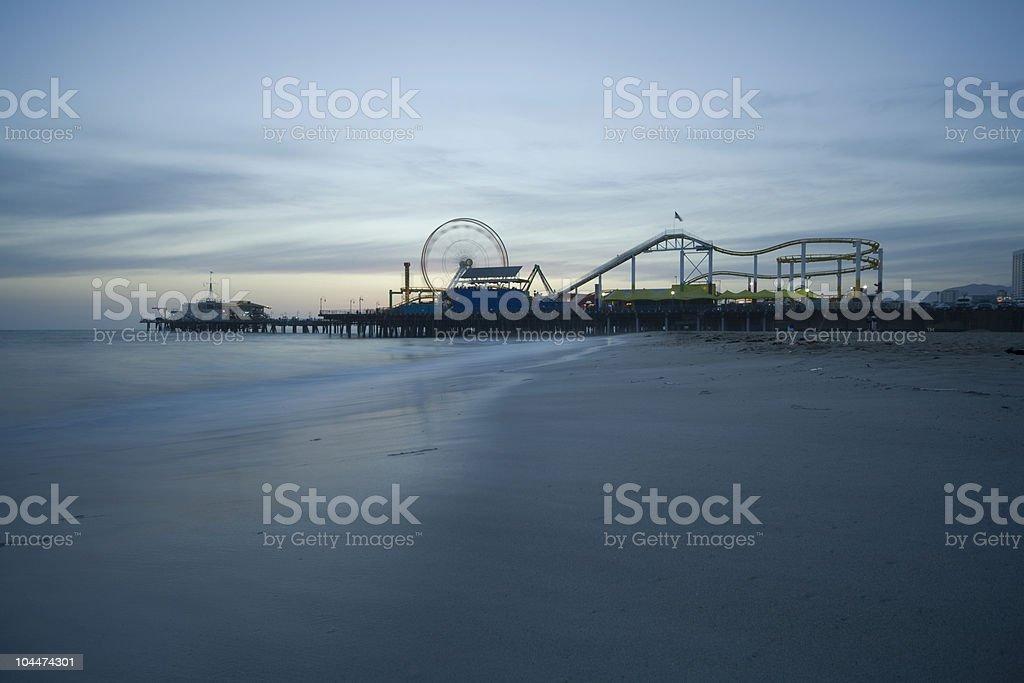 Santa Monica Pier Dusk royalty-free stock photo