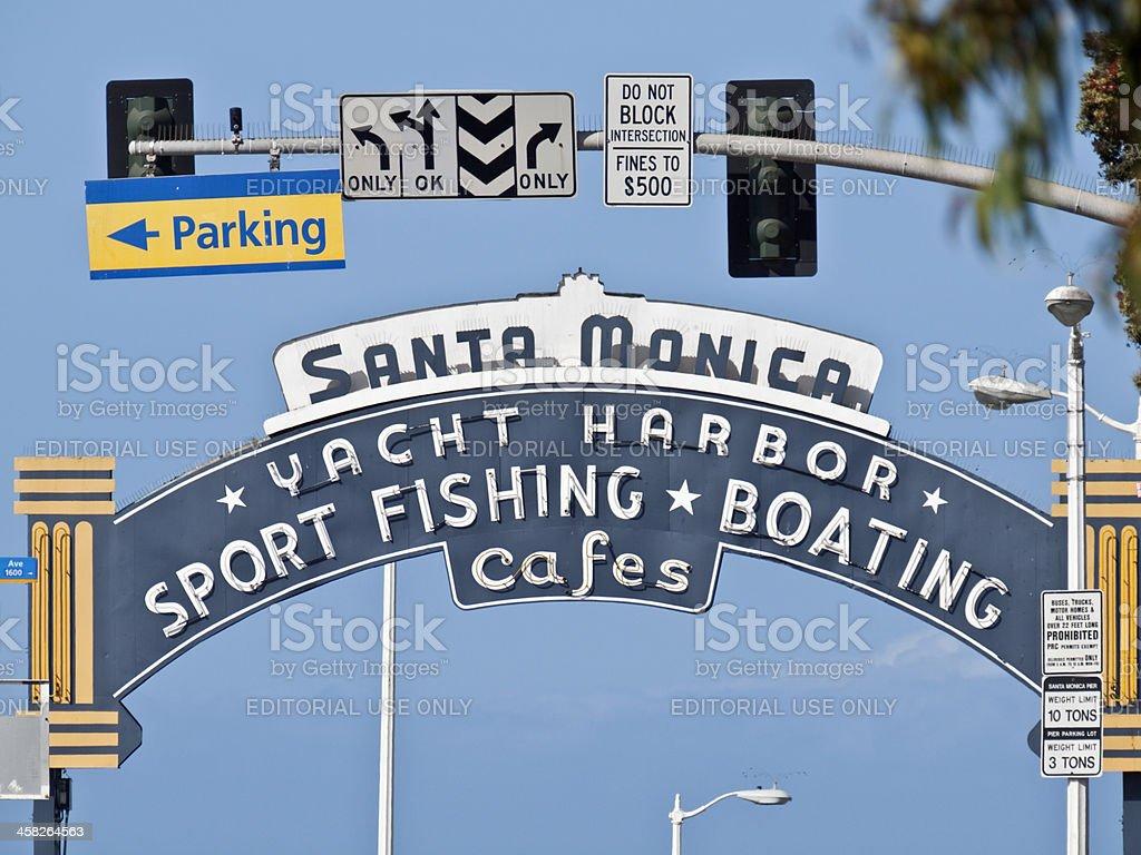 Santa Monica Pier Entrance Sign royalty-free stock photo