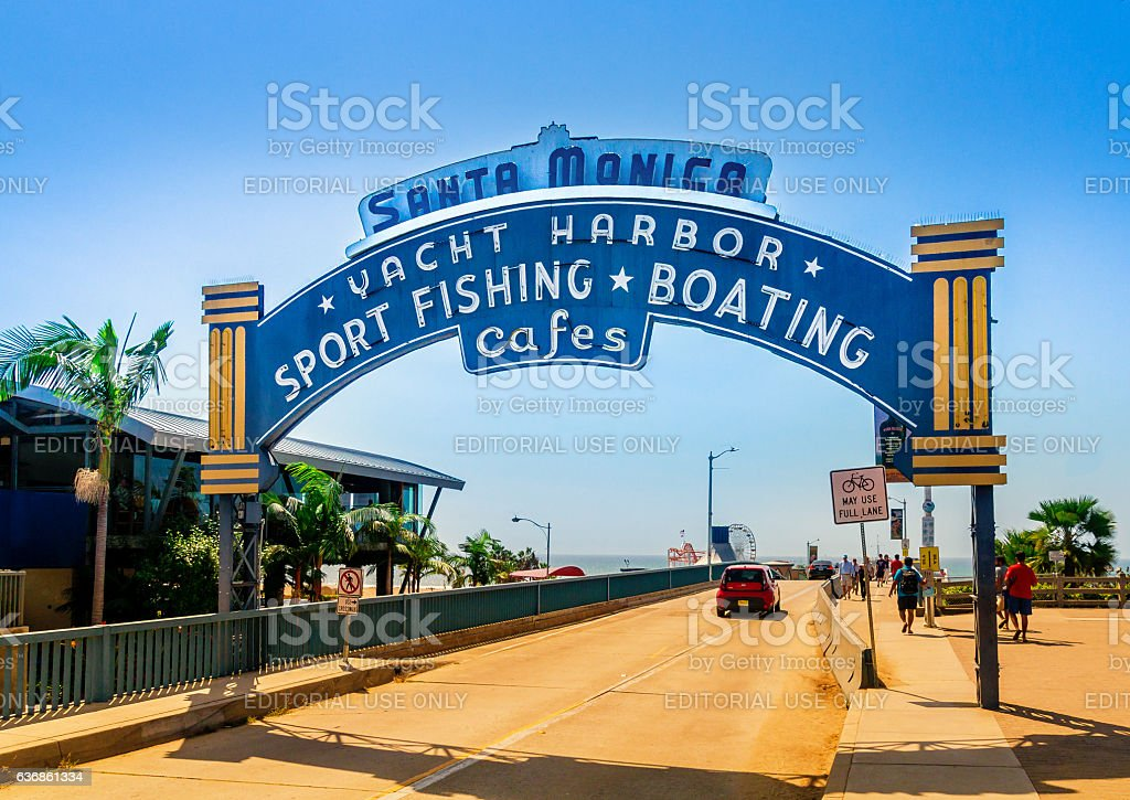 Santa Monica Pier, Entrance with the famous arch sign stock photo