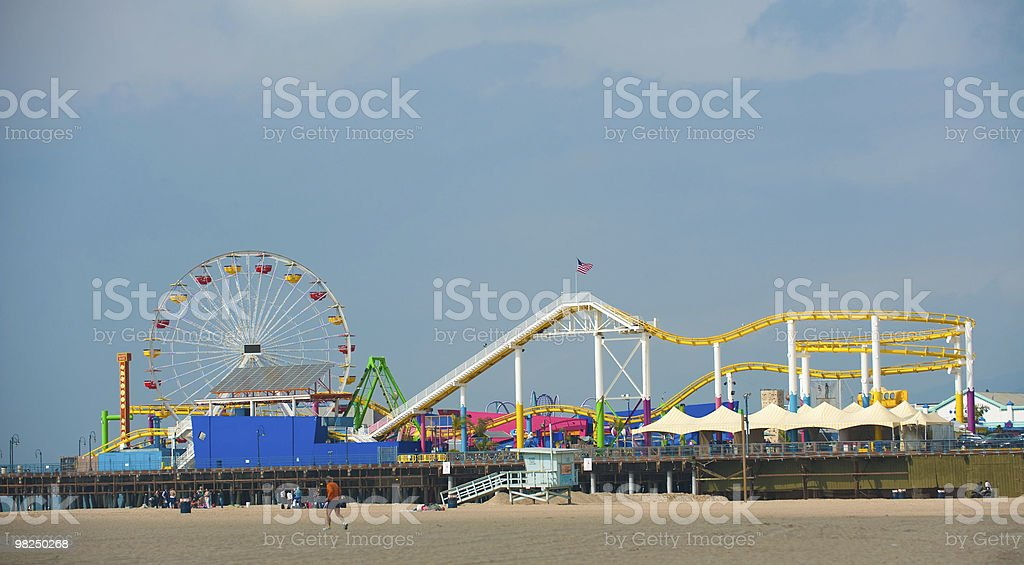 Santa Monica, Pier, Ferris Wheel and Roller Coaster royalty-free stock photo