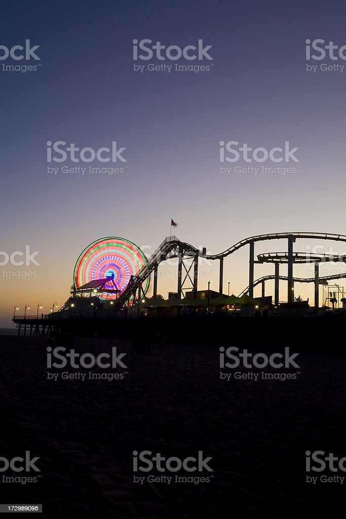 Santa Monica Pier Long Exposer at Twilight royalty-free stock photo