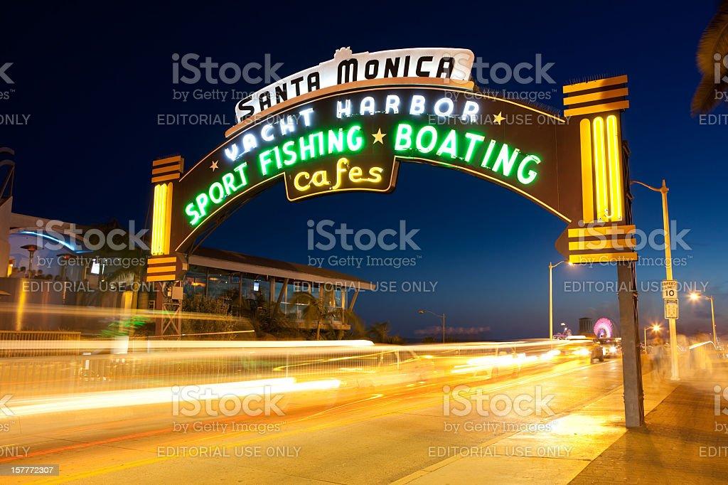 Santa Monica Pier neon sign stock photo