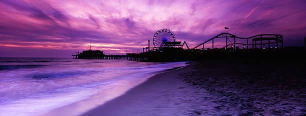 Santa Monica Pier Panorama, Toned stock photo