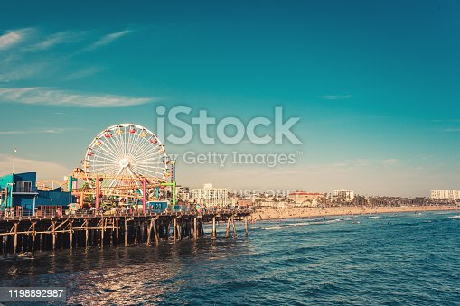 Santa Monica, CA, USA - August 2, 2018: Famous Santa Monica ferris wheel amusement park in sunset light