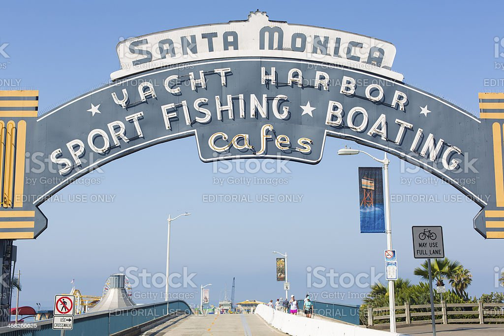 Santa Monica Pier Sign royalty-free stock photo