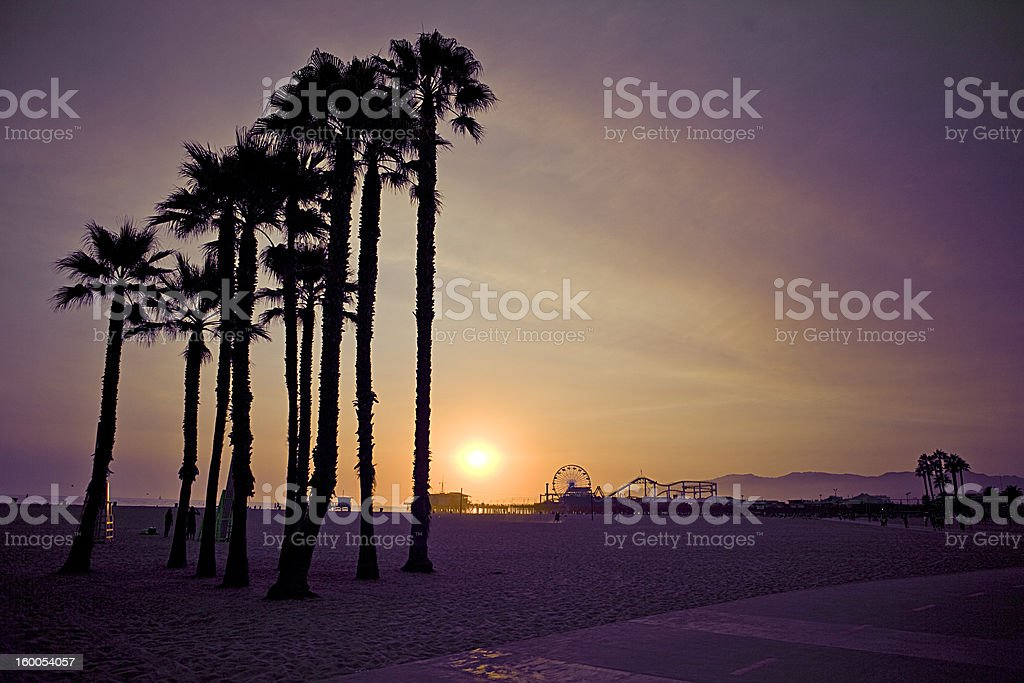 Santa Monica Pier sunset royalty-free stock photo